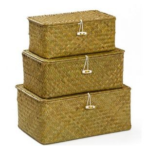 Woven Wicker Storage Bins with Lid