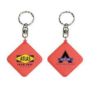 Square Diamond Red Reflector Keyring