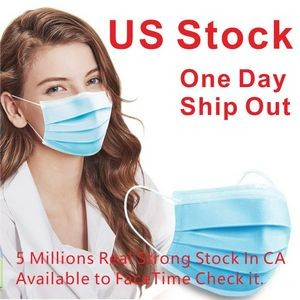 US Stock! 3-Ply 50 Pack 3 Layer Disposable Face Mask(Blank) ,CIVILIAN USE ONLY !