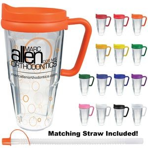 24 Oz. Double Wall Thermal Travel Mug - Clear Insert
