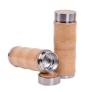 15 OZ Double Wall Stainless Steel Bamboo Bottle