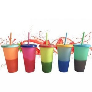 24 Oz. BPA Free Cold Water Color Changing Cup w/Straw