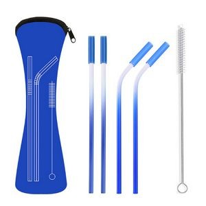 18/8 Stainless Steel Straw with Cleaner in Neoprene Bag