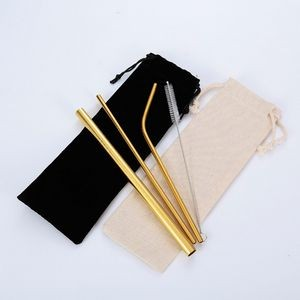 Gold Stainless Steel Straw Set