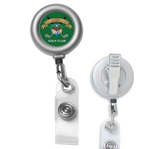 """Marion Matte"" Solid Metal Retractable Badge Reel & Badge Holder (Overseas)"