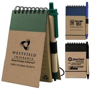 """Arcata"" Recycled Jotter Notepad Notebook w/Matching Recycled Paper Pen"