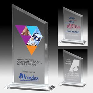 Slim Line Billboard Award with Slanted Top - Laser Engraved (4 3/4x6 1/2)