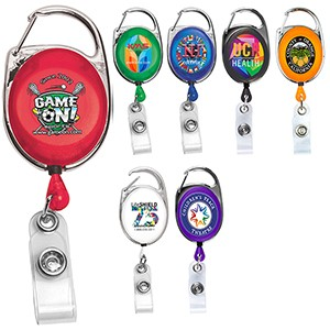 """Oberlin Pl"" Retractable Carabiner Badge Reel & Badge Holder (Overseas)"