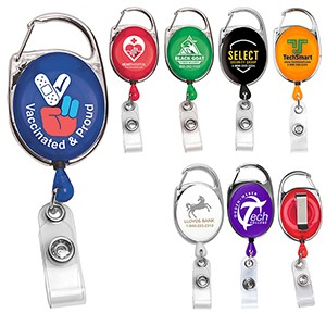 "30"" Cord Retractable Carabiner Badge Reel & Badge Holder (Overseas)"