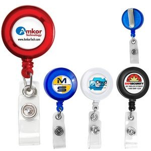 """Lorain VL"" Round Retractable Badge Reel & Badge Holder w/Metal Slip Clip Backing"