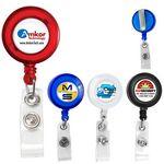 Custom Round Badge Reel w/ Metal Slip Clip Back & Badge Holder Clip (4 Color Process)