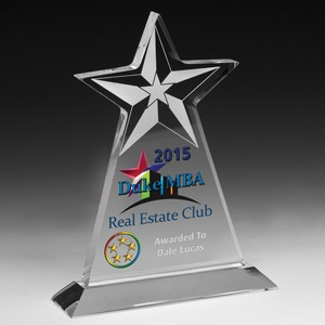 Clear Vertical Star Award w/Star Background - Screen Printed