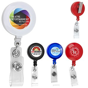 """Bellefontaine VL"" Round Badge Reel w/ Rotating Alligator Clip Back & Badge Holder Clip (Overseas)"