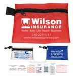 Custom 31 Piece Multi-Bandage First Aid Kit in Supersized Zipper Pouch w/ Plastic Hook