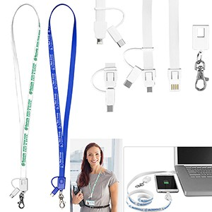 """Layton"" 3-in-1 Lanyard Cell Phone Charging Cable w/Type-C Adapter (Overseas)"
