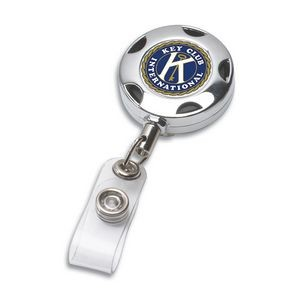 """Tiffin"" Round Chrome Solid Metal Sport Retractable Badge Reel & Badge Holder (Overseas)"