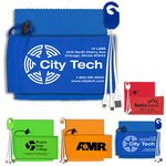 Custom Mobile Tech Charging Cable Kit in Microfiber Cinch Pouch