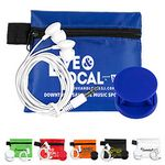 Custom Mobile Tech Car Accessory Kit Components inserted into Polyester Zipper Pouch