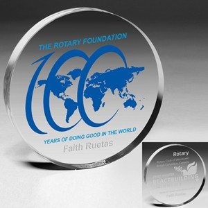 "Round Acrylic Paperweight ( 4"" Dia x 3/4"" ) - Laser Engraved"