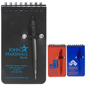 """Monterey"" Pocket Sized Spiral Jotter Notepad Notebook w/Pen"