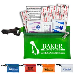"""Parkway Plus"" 8 Piece First Aid Kit w/ Plastic Carabiner Attachment"