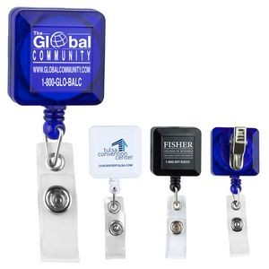 "30"" Cord Square Retractable Badge Reel w/ Metal Rotating Alligator Clip & Holder (Overseas)"