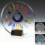 Custom Round Acrylic Award w/ Chrome Base - Laser Engraved (6 1/2