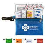 Custom 10 Piece Traveler's First Aid Sun Kit in Translucent Vinyl Zipper Pouch