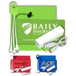Custom Mobile Tech Power Bank Accessory Kit with Microfiber Cloth in Microfiber Cinch Pouch