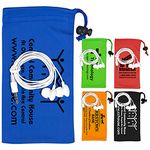 Custom Mobile Tech Earbud Kit in Microfiber Cinch Pouch Components inserted into Microfiber Pouch