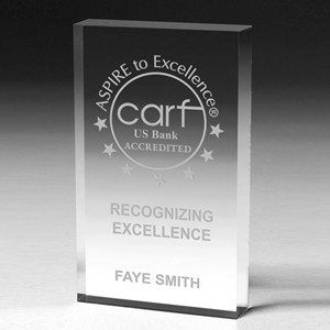 "Scalloped Recognition Paperweight Award (4""x6""x1"") - Screen Printed"