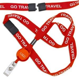 3/4'' Dye Sublimation Retractable Breakaway Lanyard with Badge Reel
