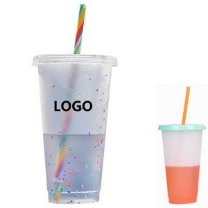 24 OZ Plastic Color Changing Mug w/glitter