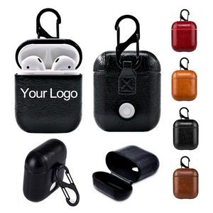 PU Leather Wireless Earphones Protection Case Cover With Keychain - Debossed