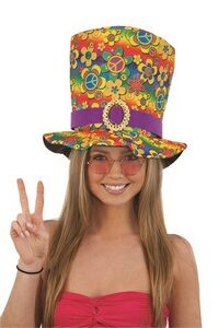 Custom 60's Peace Sign Tall Hat (Poly). Color As Shown.