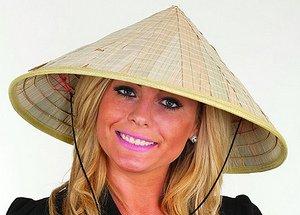 Custom Bamboo Coolie Hat W/Chin Cord