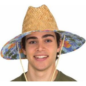 Natural Straw Lifeguard W/Cloth Floral Underbrim
