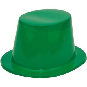 Green Plastic Top Hat with 1 Color Label