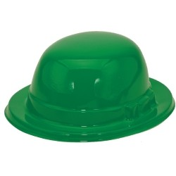 Green Plastic Derby Hat w/ 1 Color Label