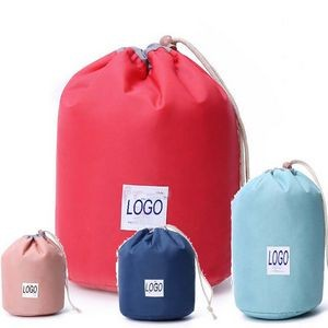 Round barrel Shaped Travel Cosmetic Bag