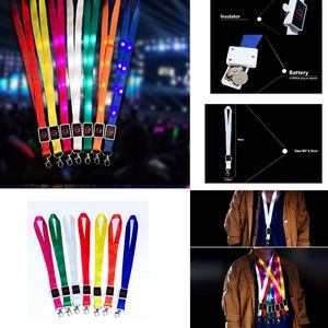 "35"" Light Up Glow LED Flat Lanyards with Buckle"