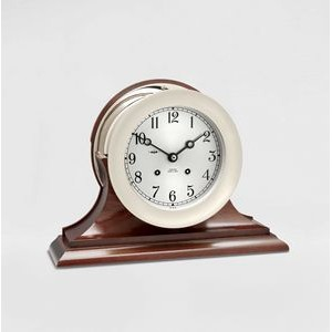 "6"" Dial Ship's Bell Clock w/Hinged Bezel in Nickel on Traditional Base"