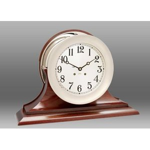 "8 1/2"" Dial Ship's Bell Clock w/Hinged Bezel in Nickel on Traditional Base"