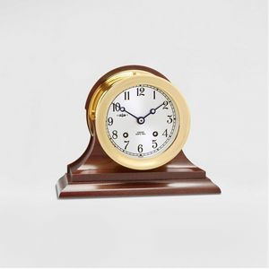 "4 1/2"" Ship's Bell Clock in Brass w/Hinged Bezel on Traditional Base"