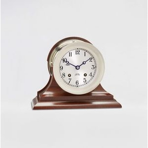 "4 1/2"" Ship's Bell Clock w/Hinge Bezel in Nickel on Traditional Base"