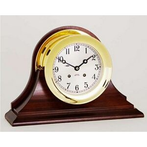 "8 1/2"" Nickel Plated Ship's Bell Clock w/Hinged Bezel"