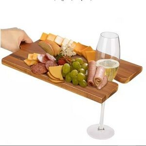 Wooden Cheese Board with Wine Glass Holder