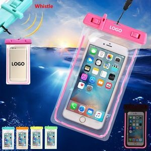 Luminous Waterproof Phone Pouch With Whistle
