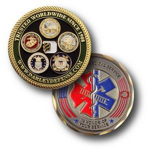 "1 3/4"" Custom Challenge Coin Double Sided Struck Brass"