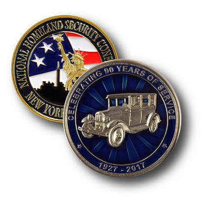 "1 1/2"" Custom Challenge Coin Double Sided Struck Brass"
